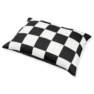 白黒チェック模様のパターン犬のベッド ペットベッド