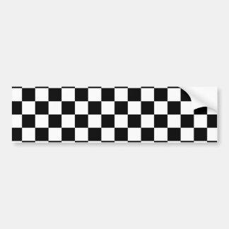 白黒チェック模様のパターン バンパーステッカー
