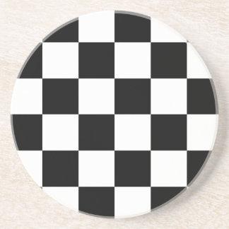 白黒チェック模様のモータースポーツの旗 コースター
