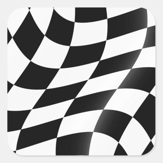 白黒チェック模様の旗のステッカー スクエアシール