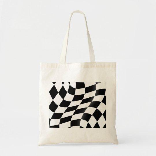 白黒チェック模様の旗のトートバック トートバッグ