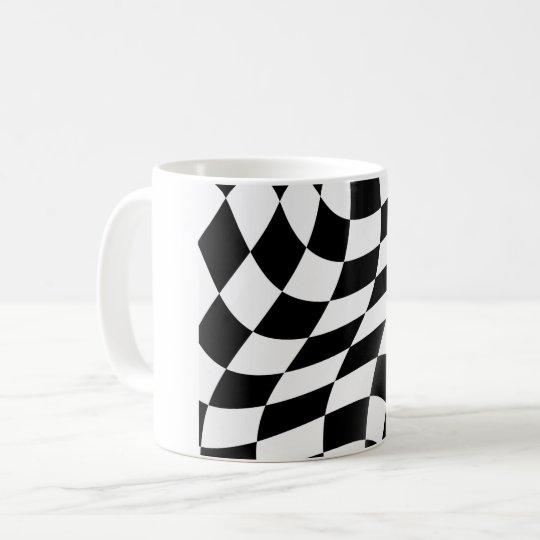 白黒チェック模様の旗のマグ コーヒーマグカップ
