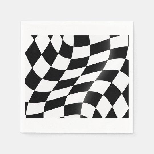 白黒チェック模様の旗の紙ナプキン スタンダードカクテルナプキン