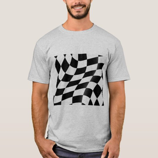 白黒チェック模様の旗メンズTシャツ Tシャツ
