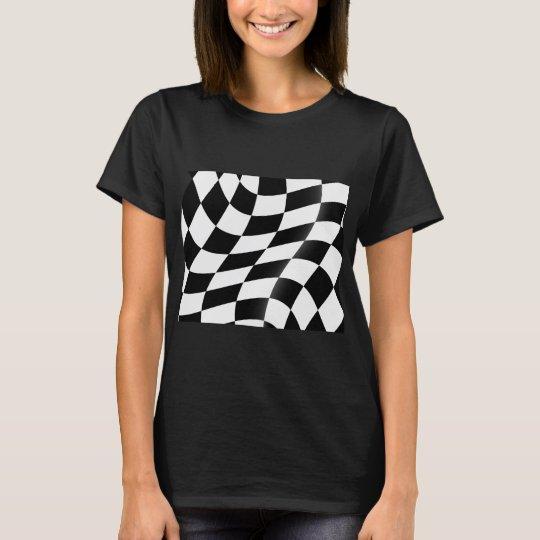 白黒チェック模様の旗レディースTシャツ Tシャツ
