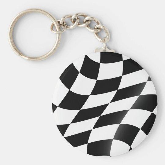 白黒チェック模様の旗Keychain キーホルダー