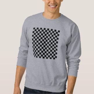 白黒チェック模様の正方形の人のセーター スウェットシャツ