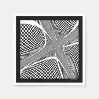 白黒チェック模様の渦巻 スタンダードカクテルナプキン