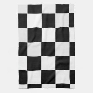 白黒チェック模様 キッチンタオル