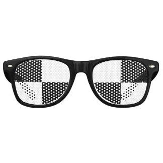 白黒チェック模様 レトロサングラス
