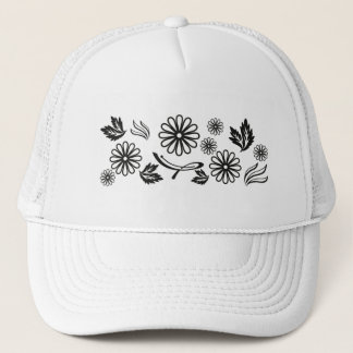 白黒デイジーの帽子 キャップ