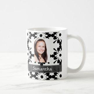 白黒デイジーパターン コーヒーマグカップ