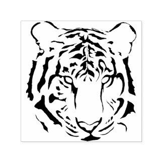 白黒トラの顔のストライプなシルエット セルフインキングスタンプ