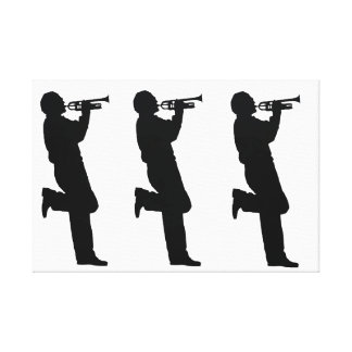 白黒トランペットのジャズミュージシャン キャンバスプリント