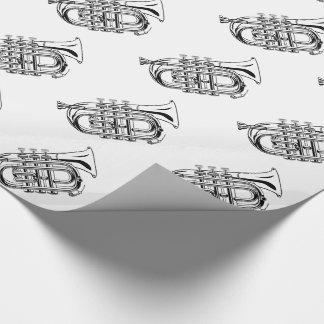 白黒トランペットのスケッチの楽器 包み紙
