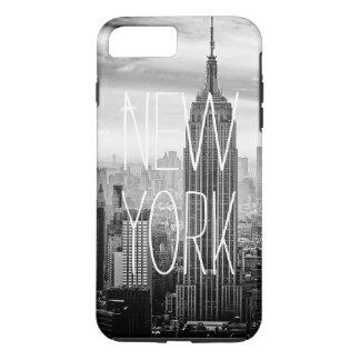 白黒ニューヨークシティのスカイラインのタイポグラフィ iPhone 8 PLUS/7 PLUSケース