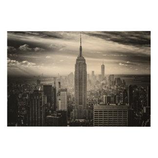 白黒ニューヨークシティのスカイライン ウッドウォールアート