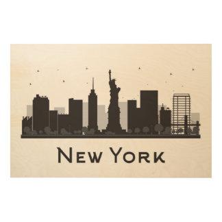 白黒ニューヨークシティ のスカイライン ウッドウォールアート