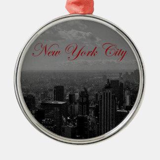 白黒ニューヨークシティ メタルオーナメント