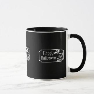 白黒ハロウィン幽霊およびSpiderweb マグカップ