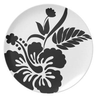 白黒ハワイの花 プレート