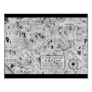 白黒ハーレムのナイトクラブの地図 ポスター