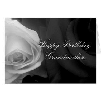 白黒バラの祖母のバースデー・カード グリーティングカード