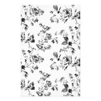 白黒バラの花柄パターン 便箋