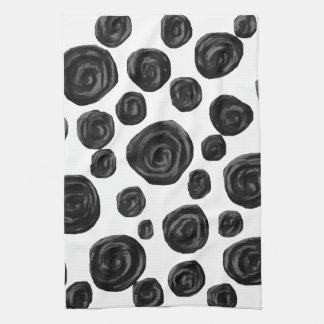 白黒バラパターン キッチンタオル