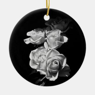 白黒バラ セラミックオーナメント