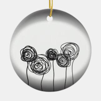 白黒バラ- セラミックオーナメント