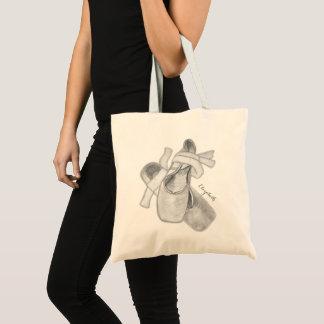 白黒バレエシューズの芸術の名前入りなバッグ トートバッグ
