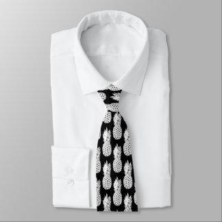 白黒パイナップルフルーツパターン首のタイ ネクタイ