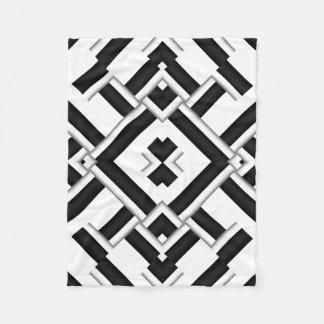 白黒パターン フリースブランケット