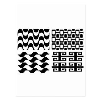 白黒パターン ポストカード
