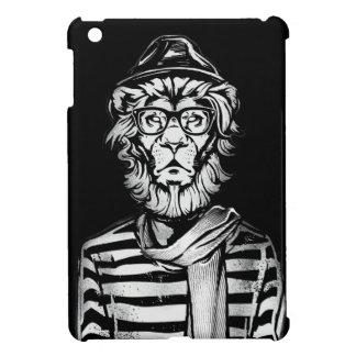 白黒ヒップスターのライオン iPad MINIケース