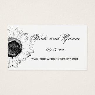 白黒ヒマワリの結婚式のウェブサイトカード 名刺