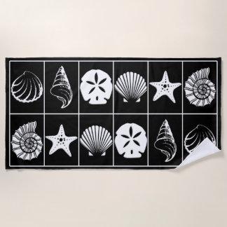 白黒ビーチタオルのデザイン ビーチタオル