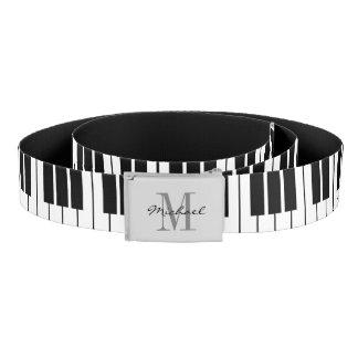 白黒ピアノはモノグラムのなキャンバス・ベルトを調整します ベルト