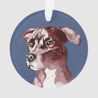 白黒ピット・ブル犬の水彩画の絵画 オーナメント