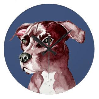 白黒ピット・ブル犬の水彩画の絵画 ラージ壁時計