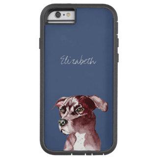 白黒ピット・ブル犬の水彩画の絵画 iPhone 6 タフ・エクストリームケース