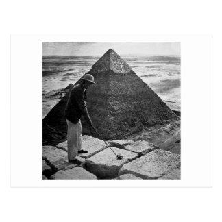 白黒ピラミッドのヴィンテージのゴルフ ポストカード