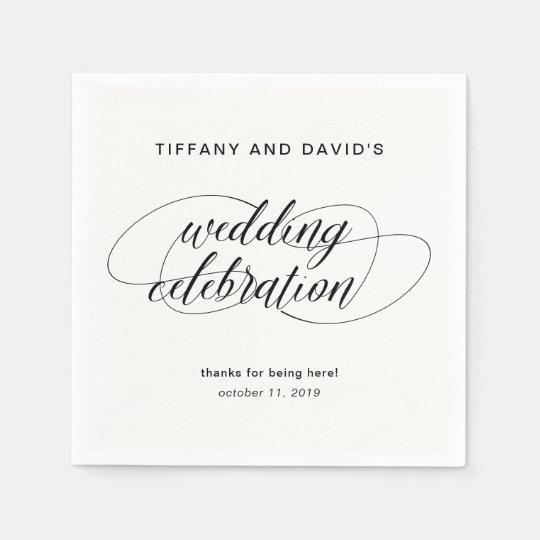 白黒ファンシーな原稿の結婚式 スタンダードカクテルナプキン