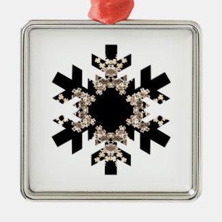 白黒フラクタルの芸術の雪片 メタルオーナメント