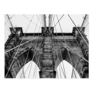白黒ブルックリン橋の写真NYC ポストカード