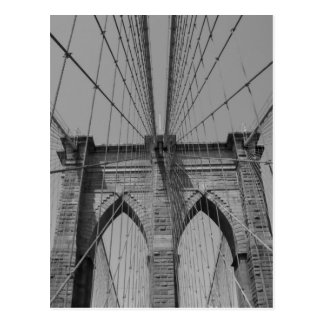 白黒ブルックリン橋カード ポストカード