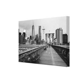 白黒ブルックリン橋 キャンバスプリント