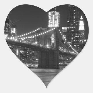 白黒ブルックリン橋- ハートシール