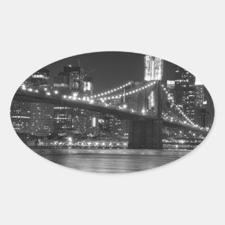 白黒ブルックリン橋- 楕円形シール
